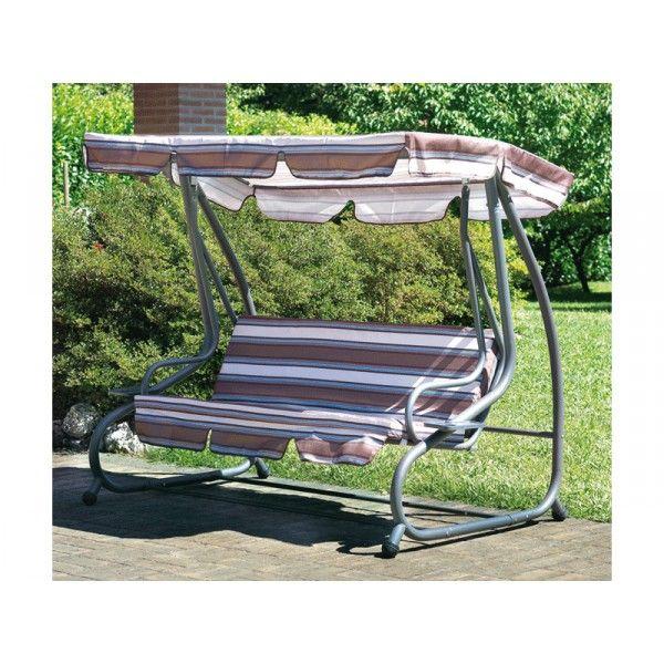 Dondolo 3 posti in ferro con schienale reclinabile arredo giardino codice sv 110 dondolo 3 - Dondolo da giardino reclinabile ...