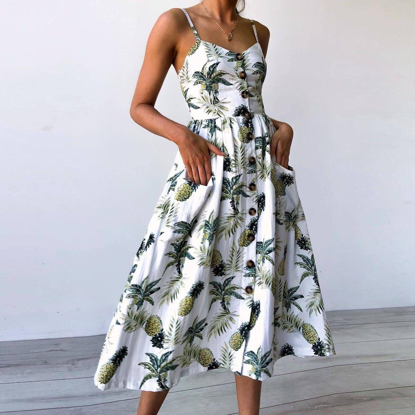 Floral Print Summer Dress Women V Neck Pockets Sleeveless Midi Dresses Buymonday Summer Dresses Printed Beach Dresses Summer Dresses For Women [ 1335 x 1335 Pixel ]