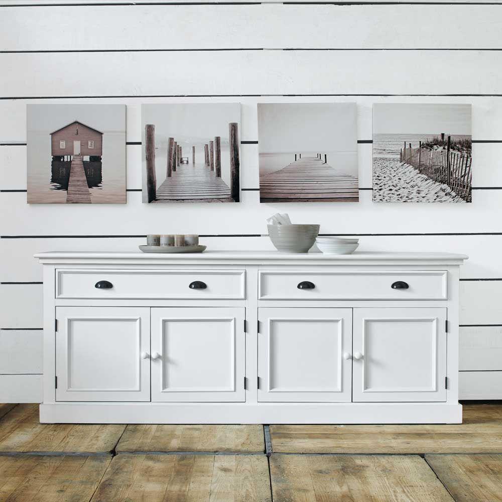 Buffet 4 portes 4 tiroirs blanc | Beach/Coastal chic (2 ...