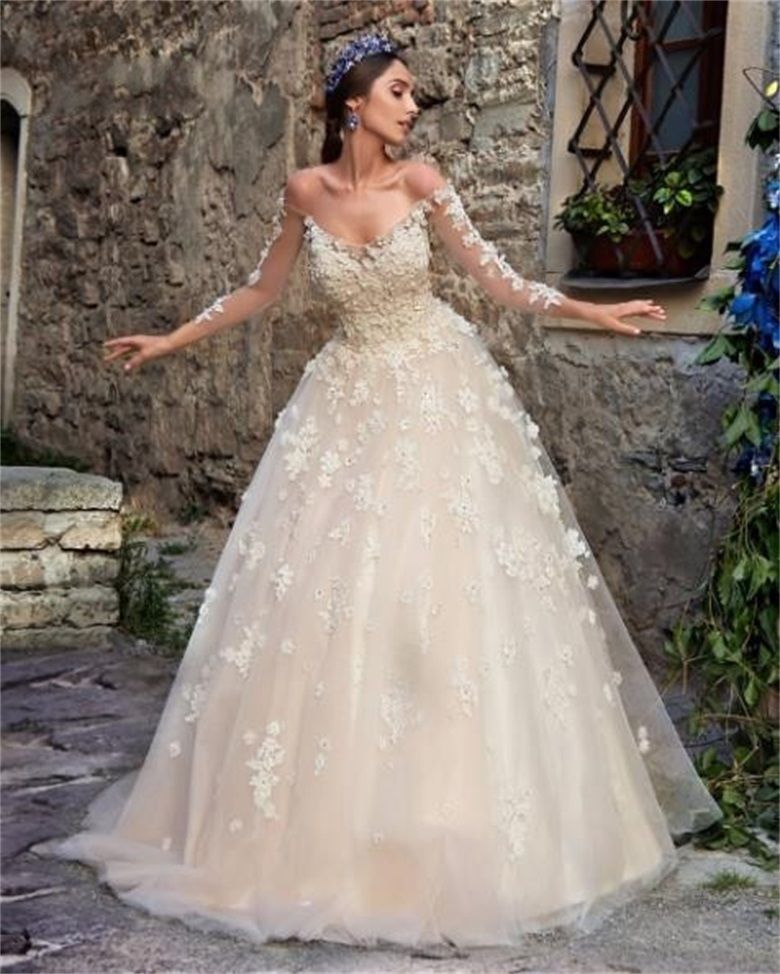 New 3D Applique Long Sleeve Ball Wedding Dress princess Off Shoulder ...