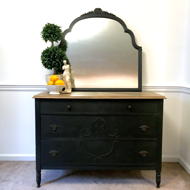 Vintage Black Dresser With Mirror Antiquing Furniture Diy Black