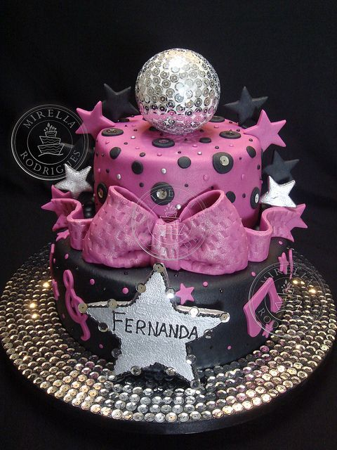 Bolo Decorado ''Discoteca'' Disco Birthday Cake Birthday Ideas Simple Mini Disco Ball Cake Decoration