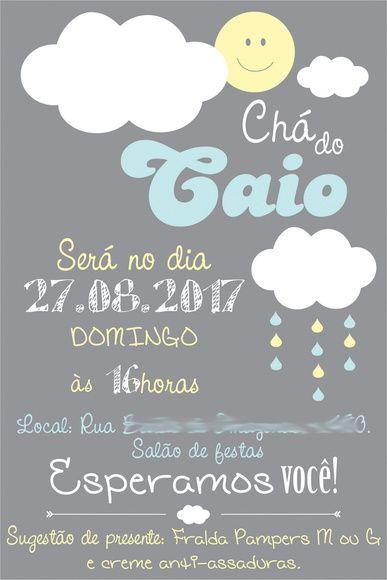 Arte Convite Nuvem Chuva Chá - digital Chuva de Benção ...