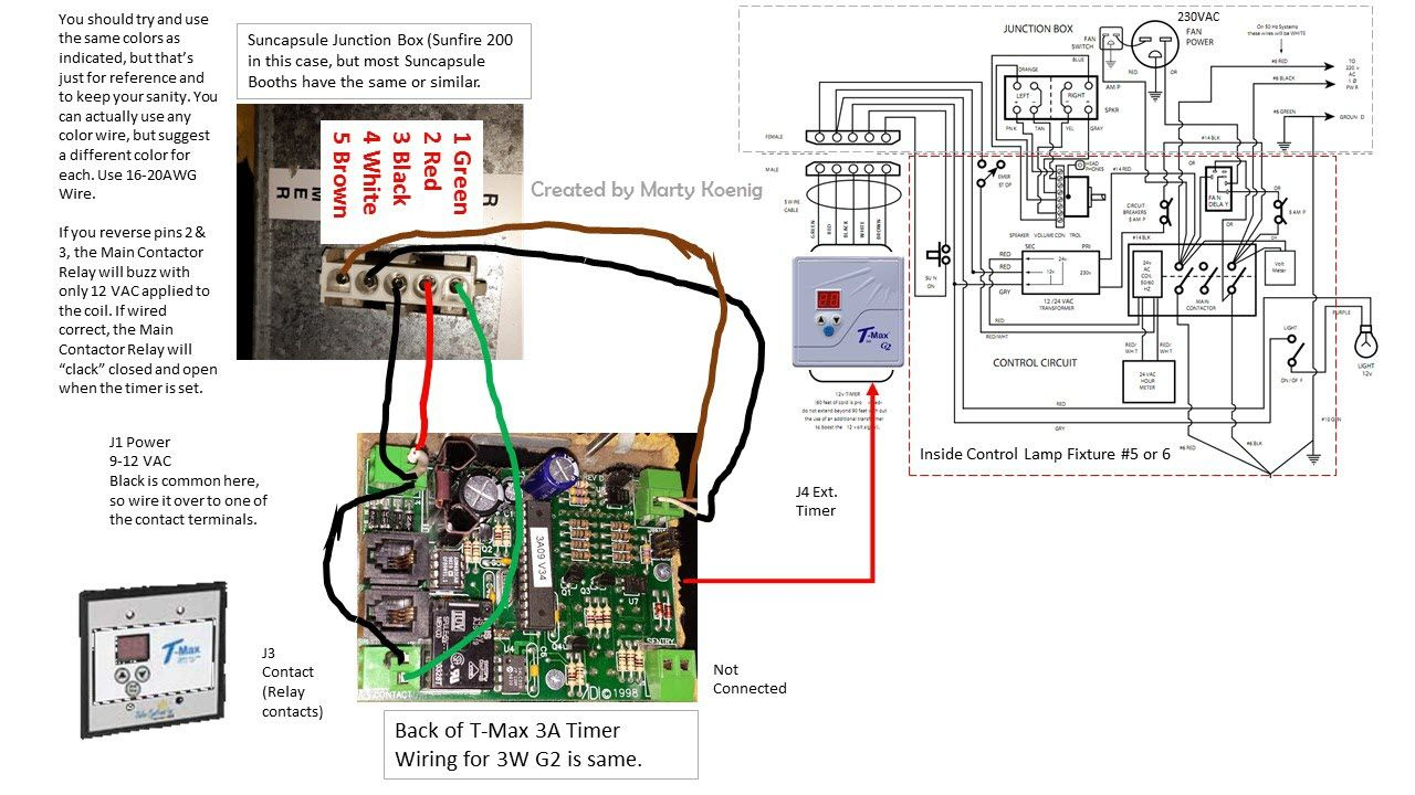 TMax 3A Timer connection to Suncapsule tanning booth bed