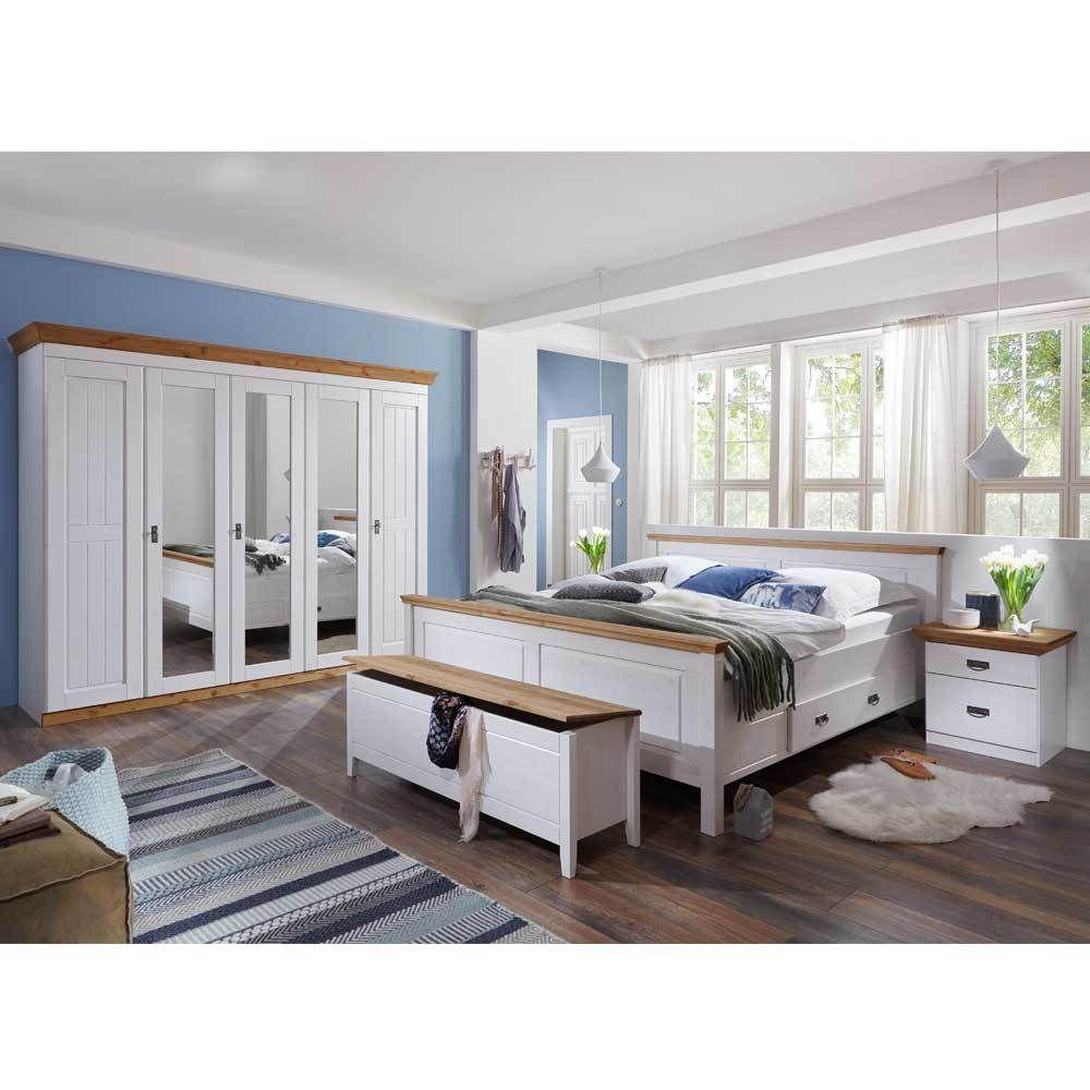Schlafzimmerset im Landhausstil Weiß Kiefer massiv (4