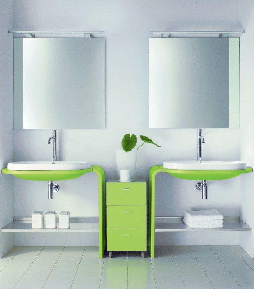 Bathroom. Cheerful Bright Bathroom Designing Ideas With Green ...