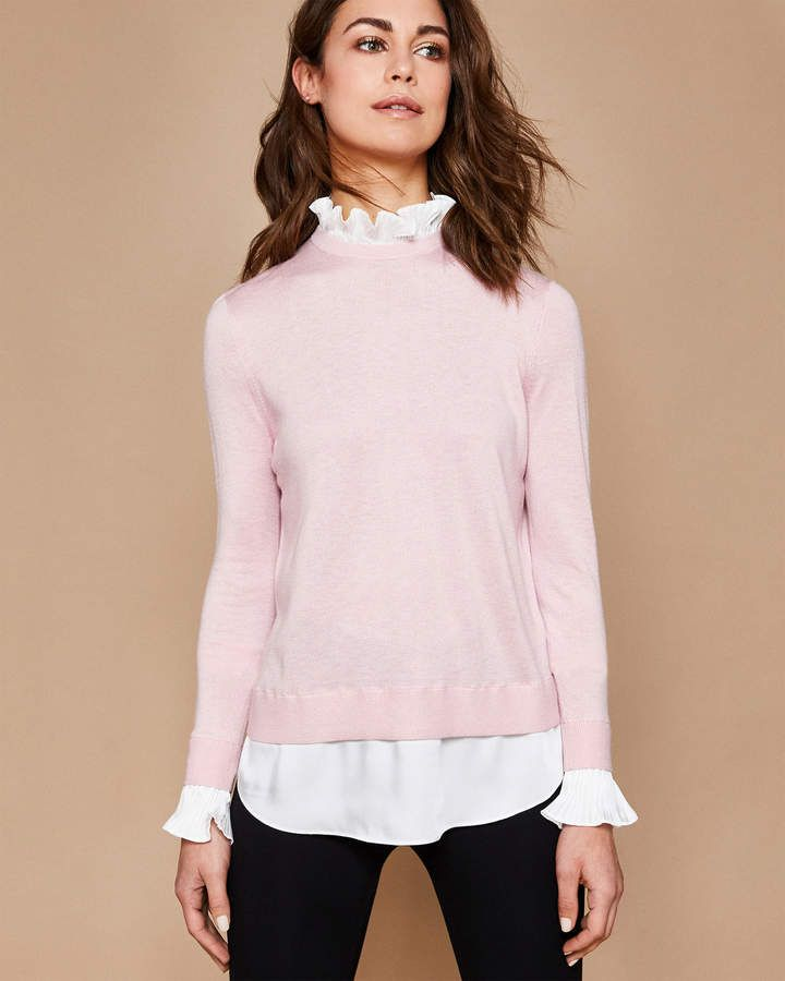 4ac86116b2af59 Ted Baker KAARINA Ruffled neck mock shirt sweater