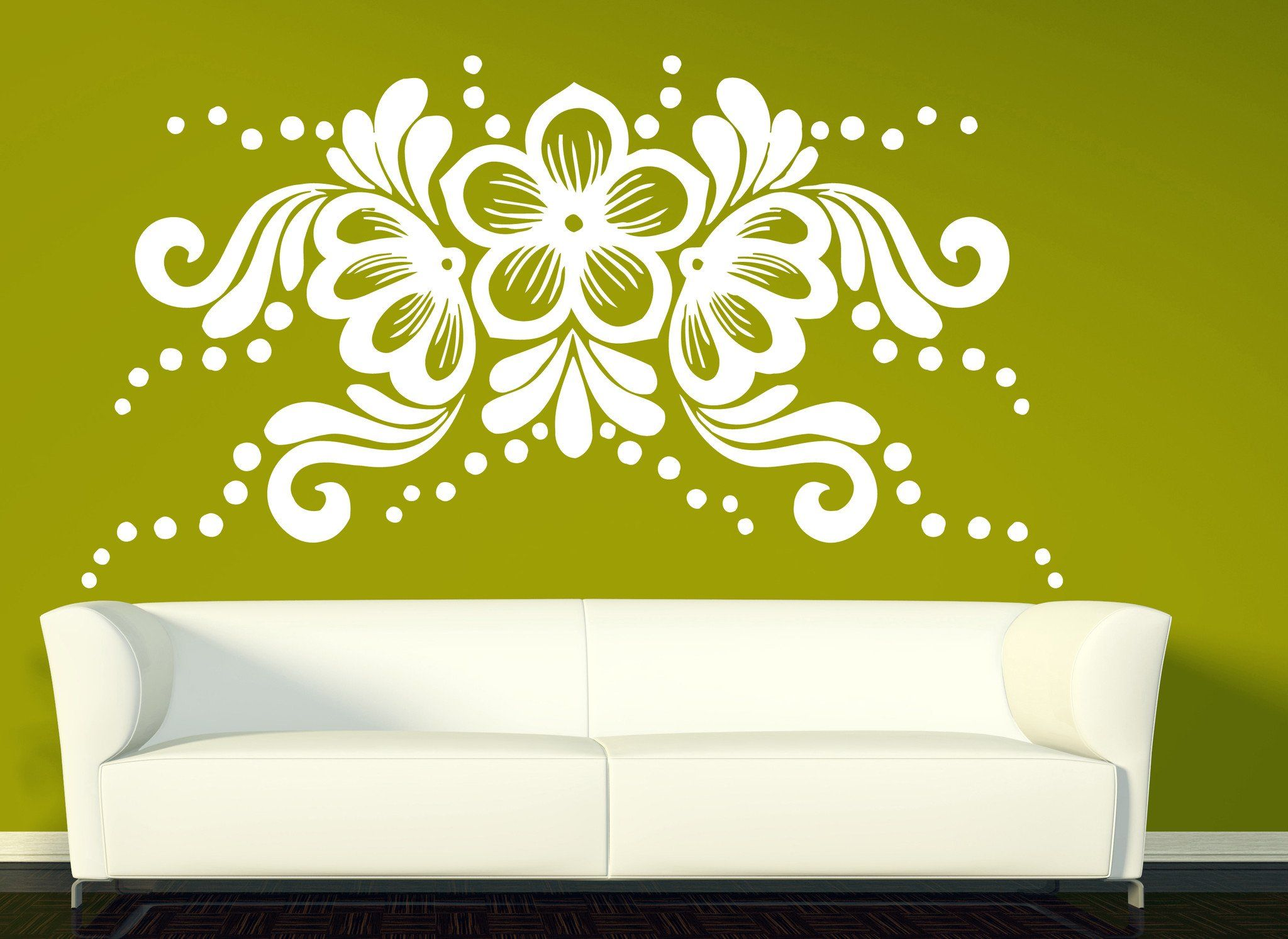 Vinyl Decal Flower Arrangement Horizontal Ornament Wall Sticker ...