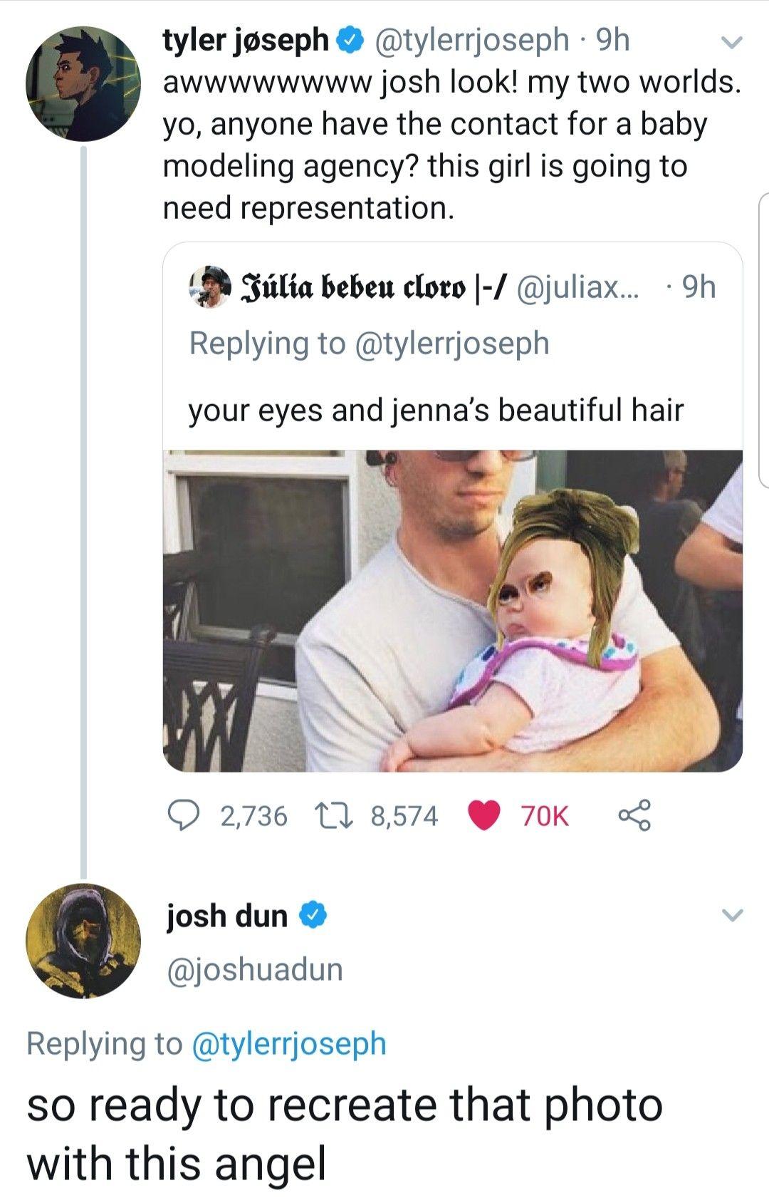This Is So Cute In 2020 Twenty One Pilots Baby Modeling Agency Cute Memes