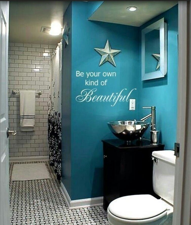 Make Photo Gallery Blue bathroom CUTE and I love the quote Pinning again LOVE