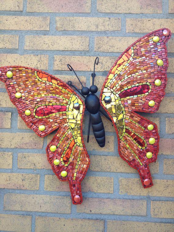 Butterfly Wall Art Glass Mosaic Outdoor Metal Wall Art Red Yellow