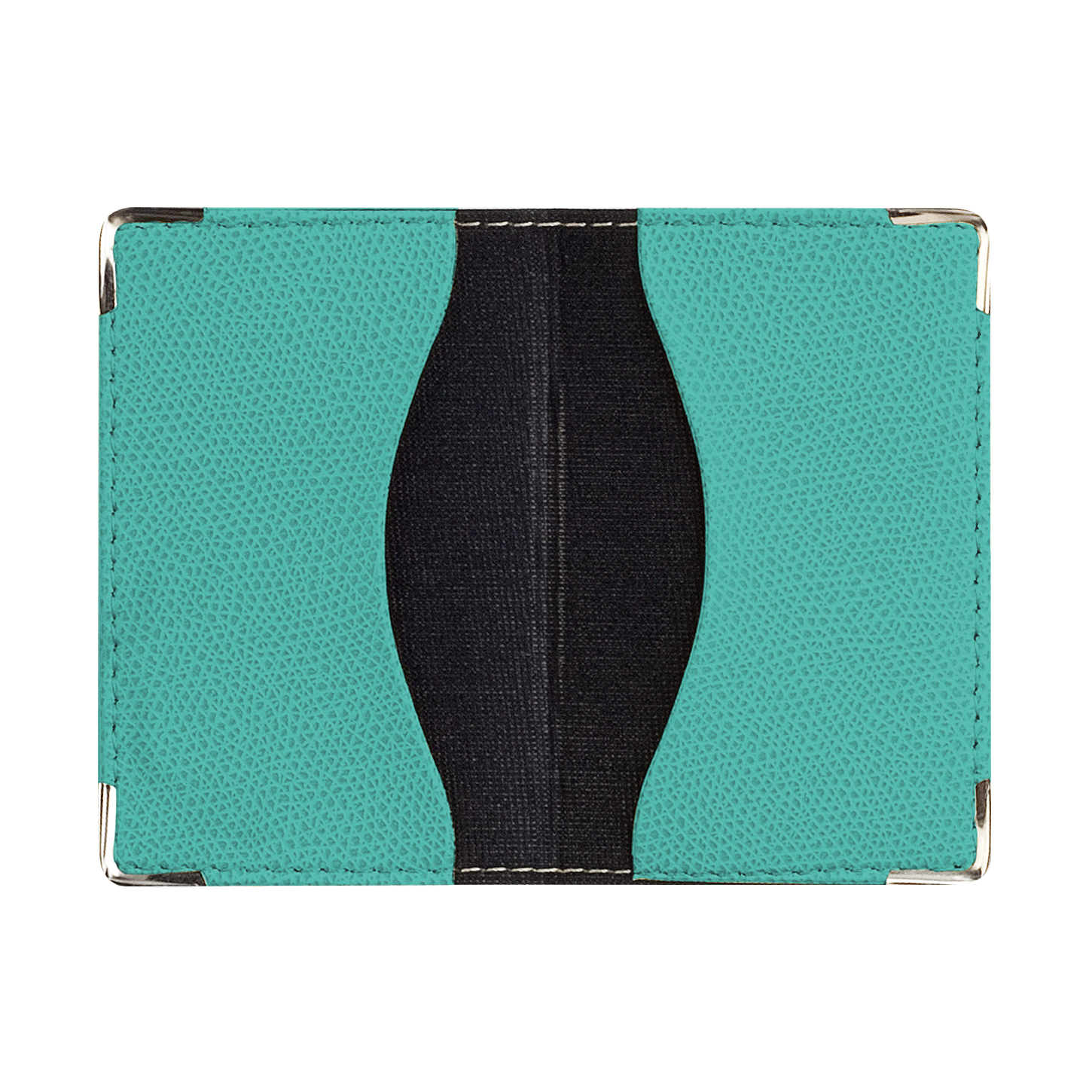 Pocket card holder – Club Turquoise - (7×11 cm) 4 silver corners