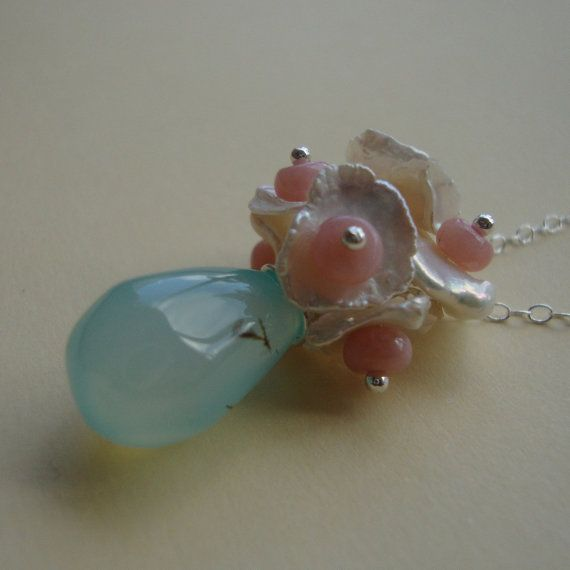 Aqua Chalcedony Necklace  Opal and Keshi Pearls  All by lizix26, $28.00