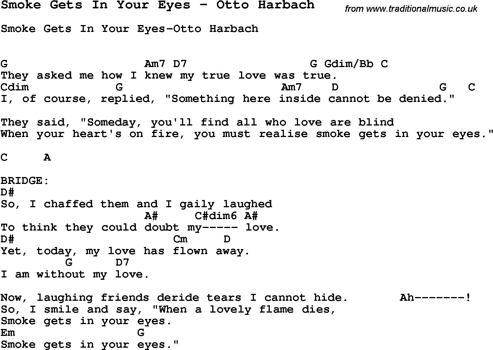 Song smoke gets in your eyes by otto harbach with lyrics for song smoke gets in your eyes by otto harbach song lyric for vocal performance plus accompaniment chords for ukulele guitar banjo etc hexwebz Images