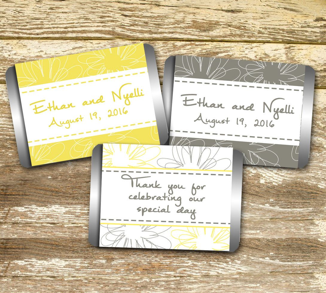Mini Candy Wrappers - Wedding Candy Wrappers, Yellow and Gray ...