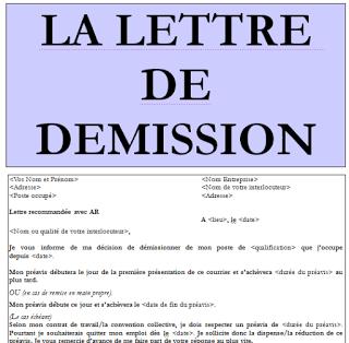 Modele Lettre De Demission Avec Preavis En Word Doc Word Doc Download Resume Words