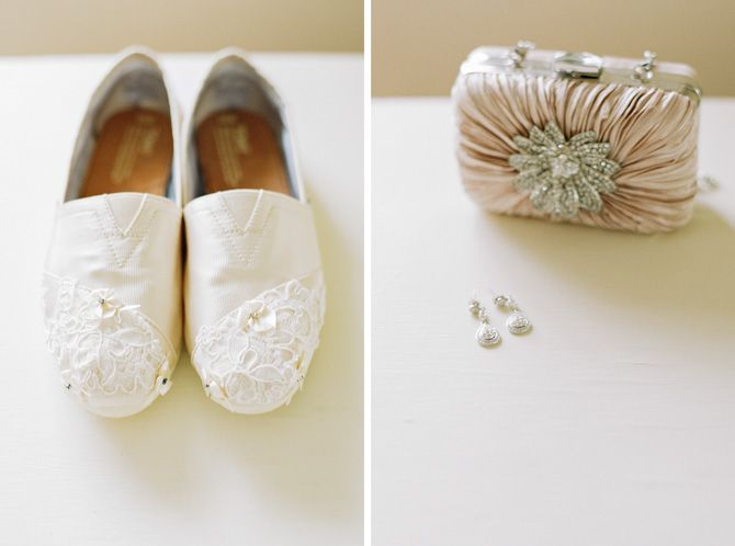White Satin Toms Wedding Shoes With Lace And Retro Glam Diamond Earrings And Clutch Toms Wedding Shoes Wedding Toms Blush Wedding Shoes