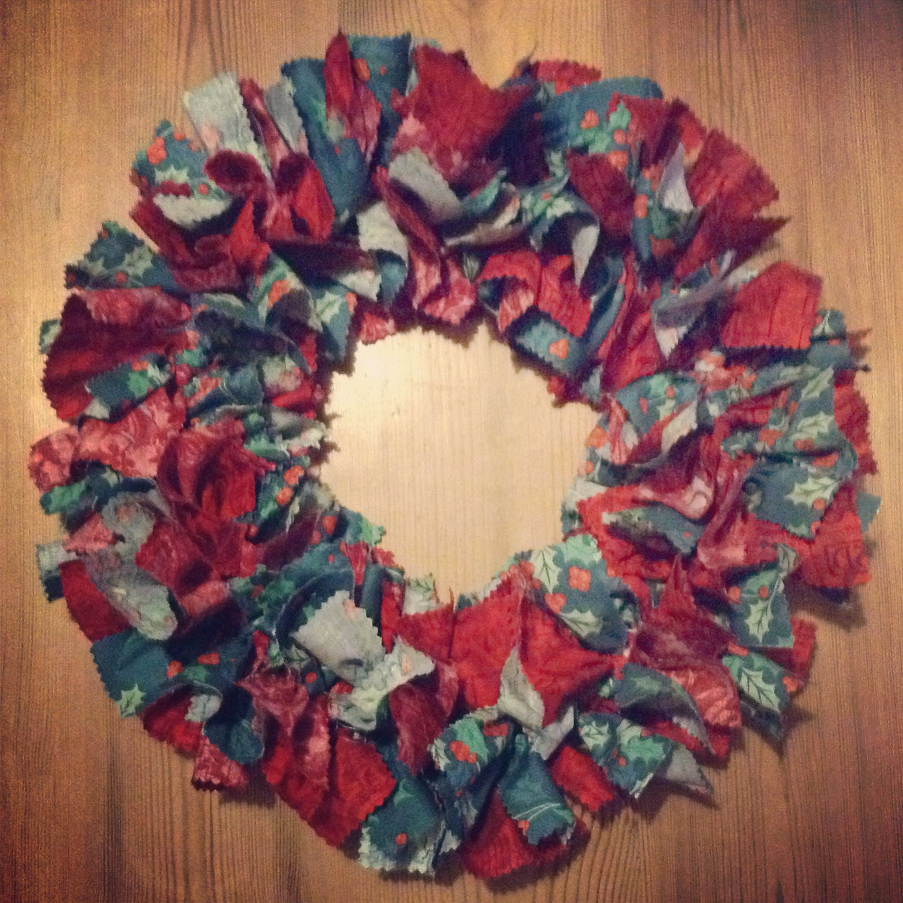 Christmas diy fabric wreath made with a