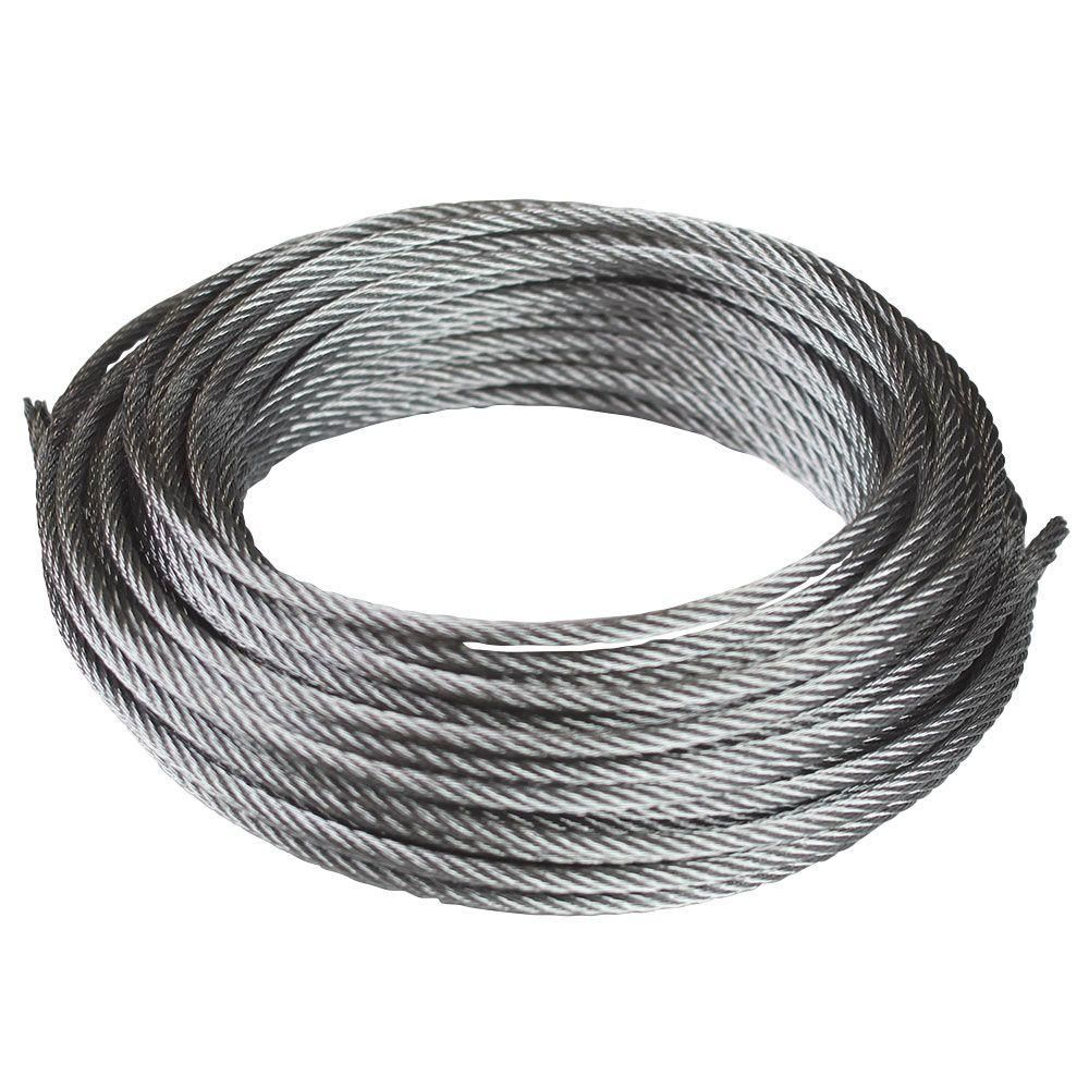 Everbilt 1 8 In X 50 Ft Galvanized Uncoated Steel Wire Rope 803152 The Home Depot In 2020 Galvanized Metal Wire Metal Storage Sheds