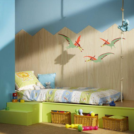 Chambre de bébé dinosaure orange et bleu bébé, décor dinosaure ...