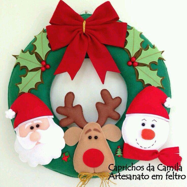6 modelos de coronas navide as de fieltro decoraci n - Decoracion navidena fieltro ...