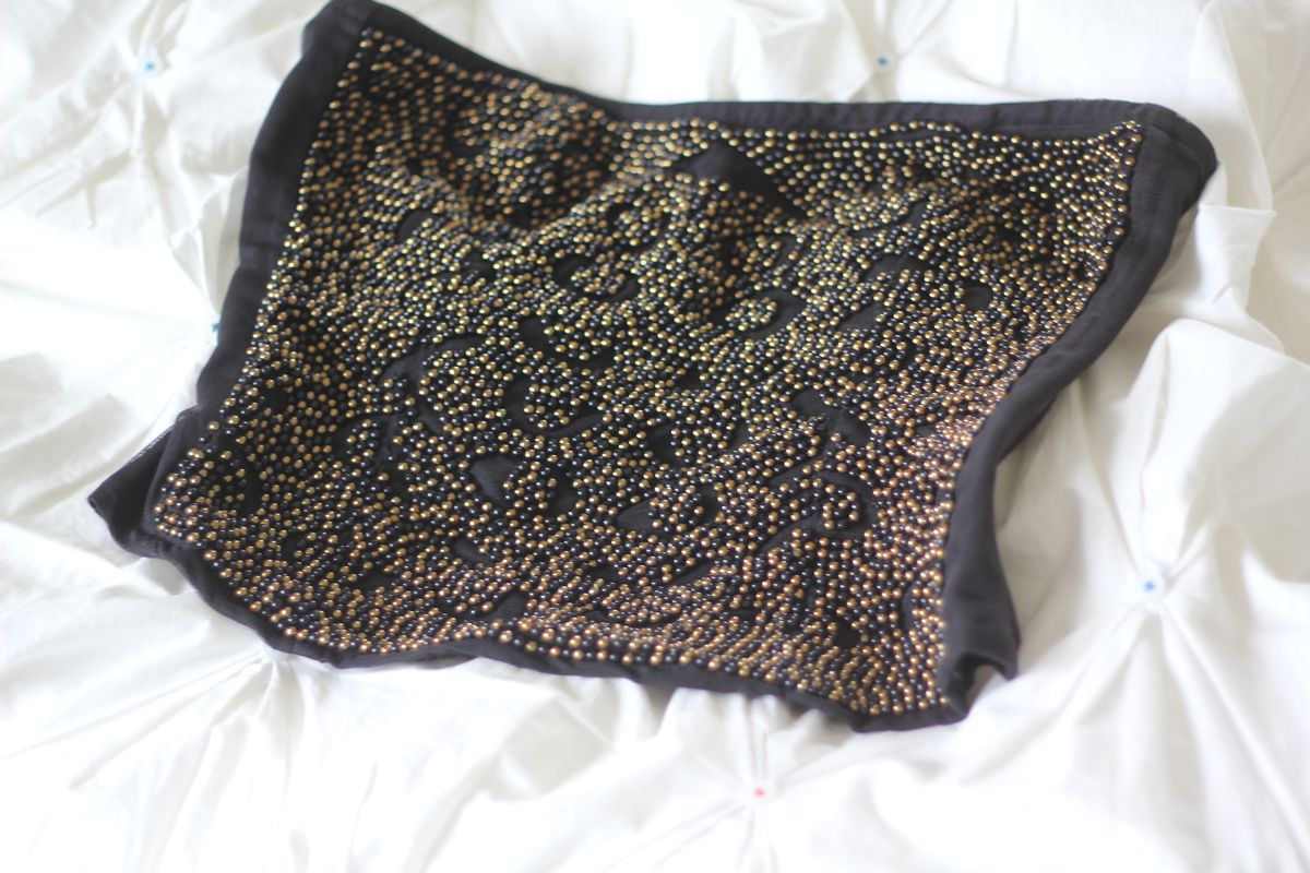 Black Strapless Gold And Silver Beaded Bustier — Bib + Tuck