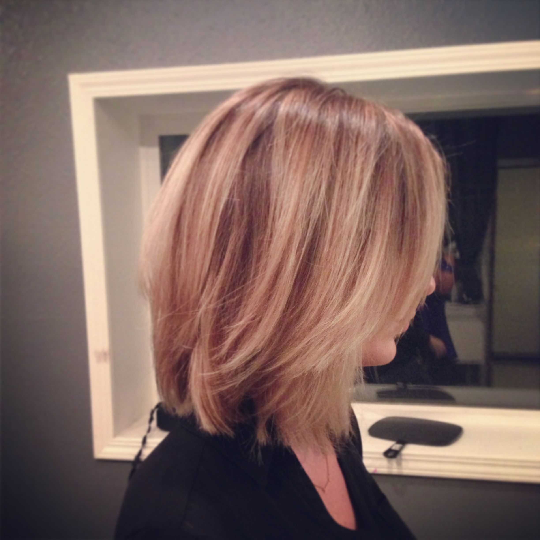 Long angled bob Aveda color blonde...cut | Highlighted ...