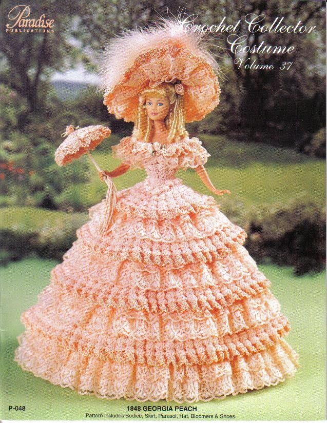 Victorian Costume Gown Crochet fits Barbie Doll PATTERN//INSTRUCTIONS NEW