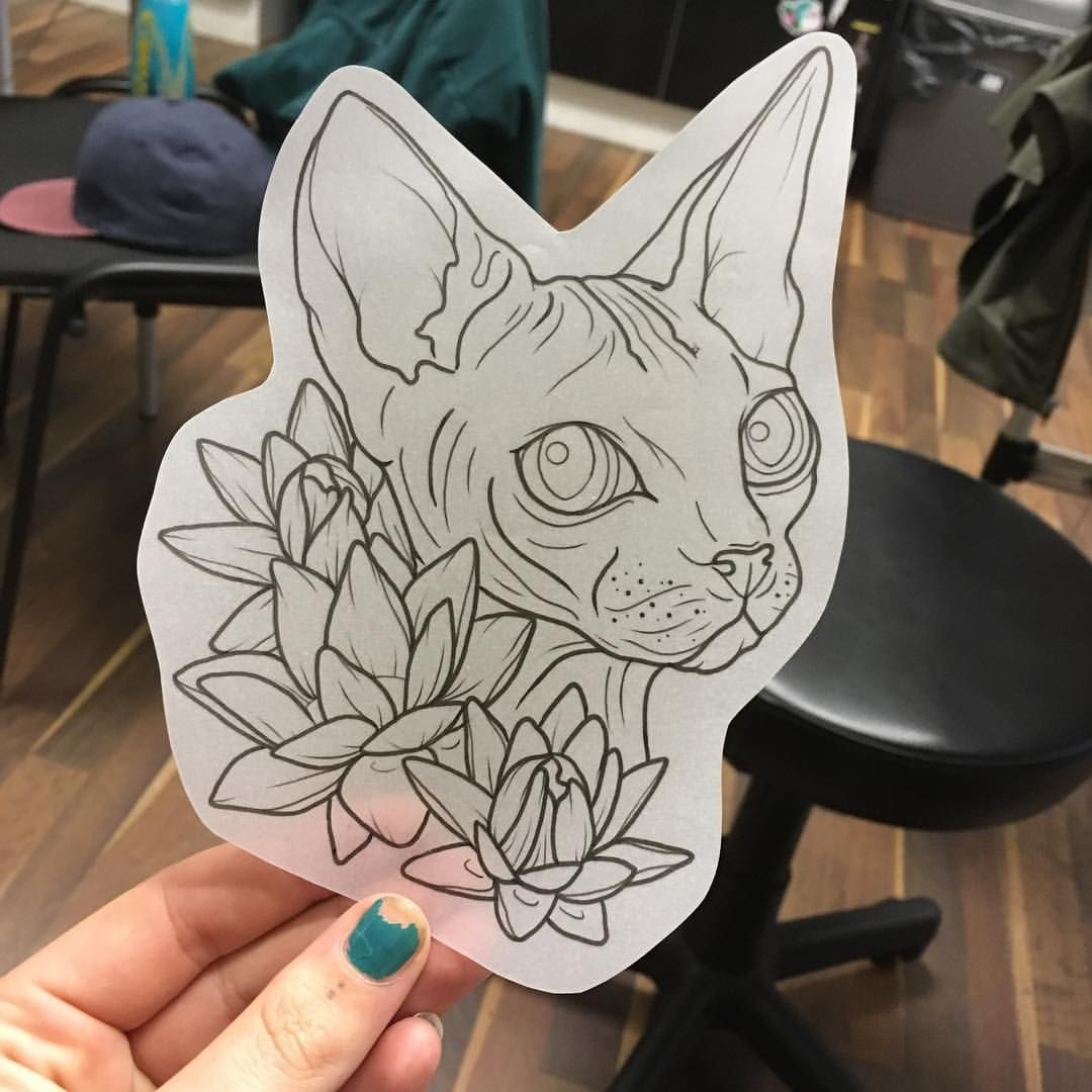 993 Likes 15 Comments Hannah Elizabeth Gehrke Gerktattoos On Instagram Available Sphynx And The Egyptian Cat Tattoo Tattoo Stencils Black Cat Tattoos
