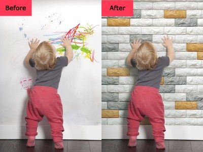 Before and After for Peel & Stick 3D Wall Panels Foam Block Brick Design | 3D Wallpaper | Brick ...