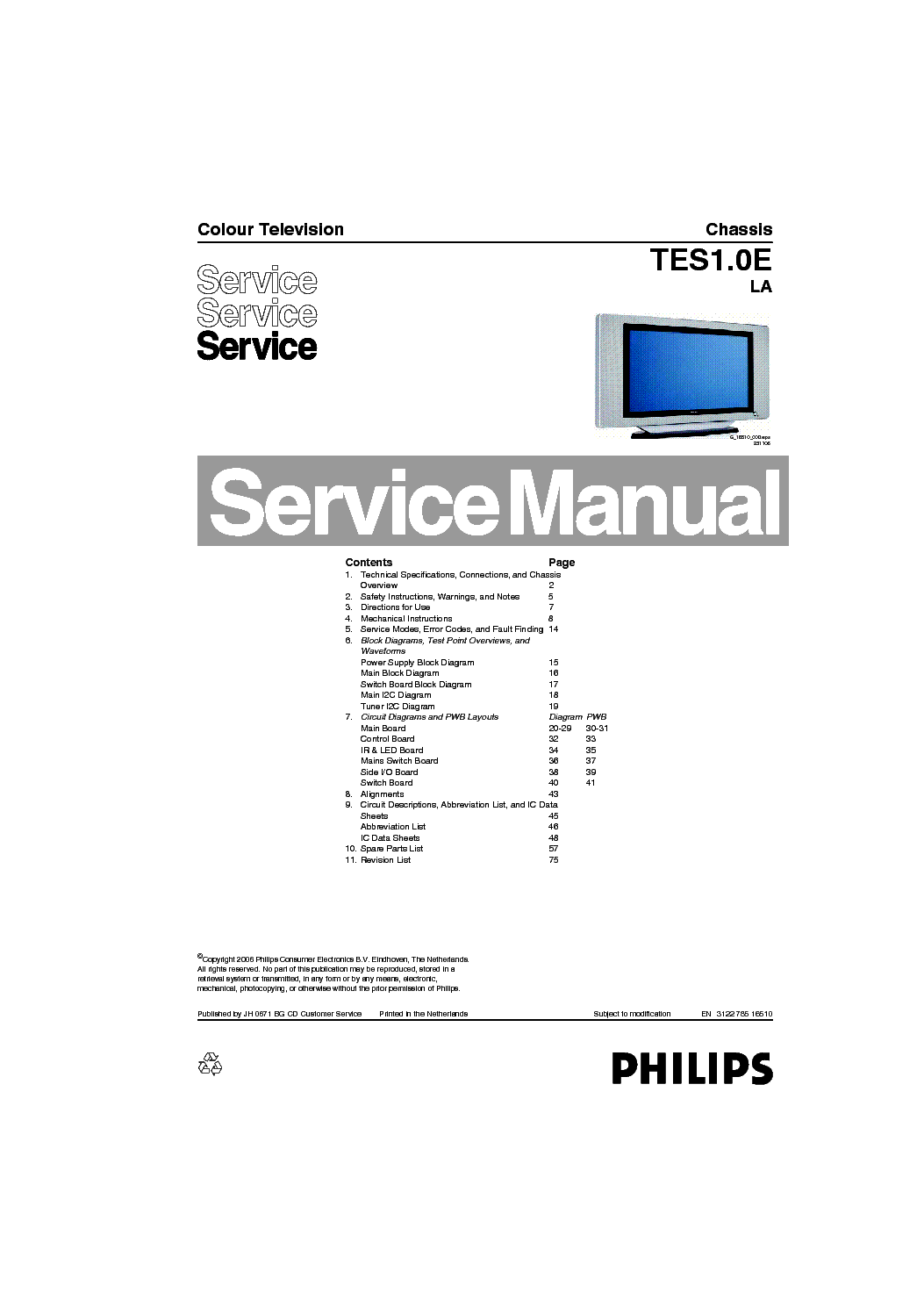 PHILIPS TC8.1L-CA Service Manual download, schematics