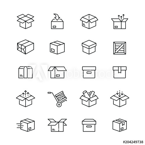 Box Related Icons Thin Vector Icon Set Black And White Kit Buy This Stock Vector And Explore Similar Vectors At Adobe Icon Set Vector Icon Set Vector Icons