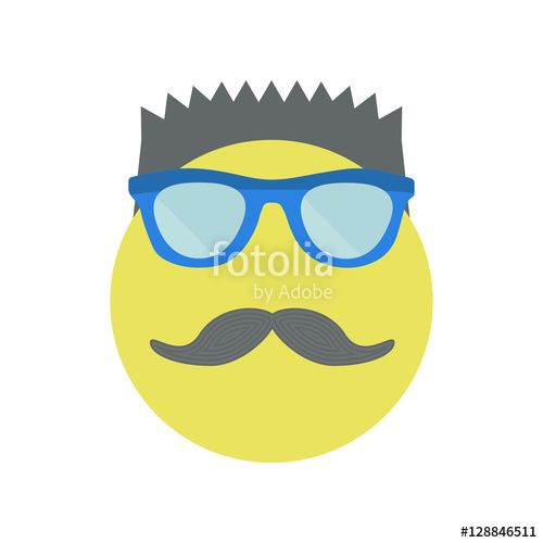 Вектор: Man with a fashionable haircut with sunglasses and moustache. Yellow smile. Vector illustration.