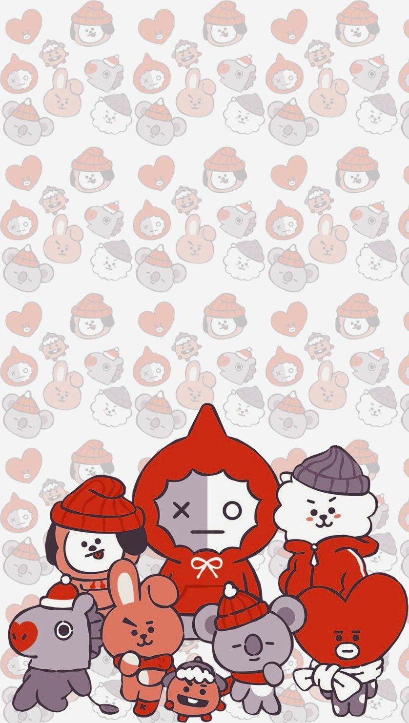 Bt21 Chirstmas Rj Mang Koya Chimmy Shooky Cooky Tata Van Bts Wallpaper Bts Christmas Bts Fanart