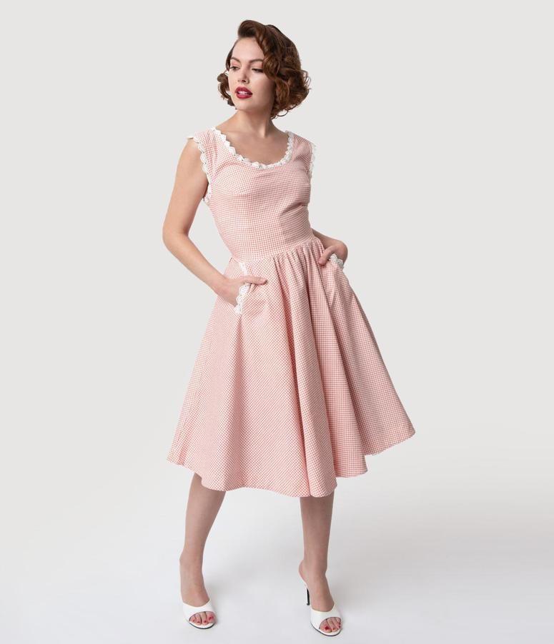 a4c0b11e764d Barbie x Unique Vintage Rose & White Gingham Barbie-Q Swing Dress in ...
