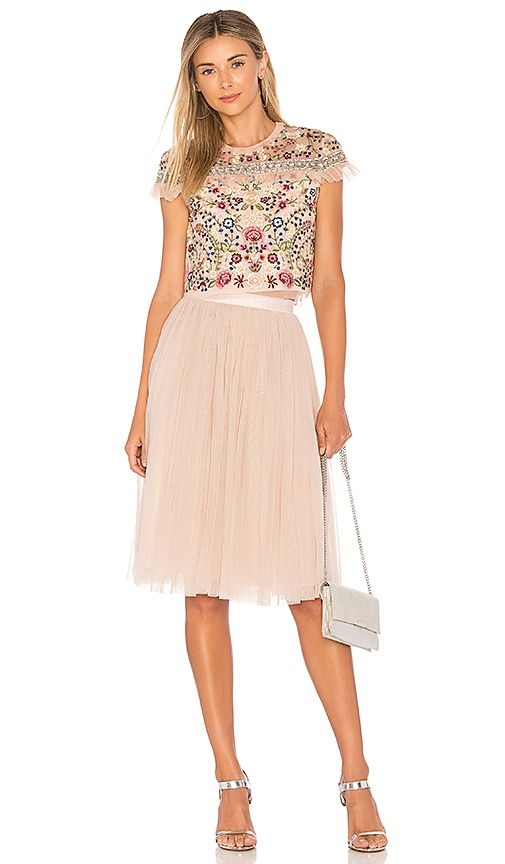 shop for needle & thread tulle midi skirt in petal pink at