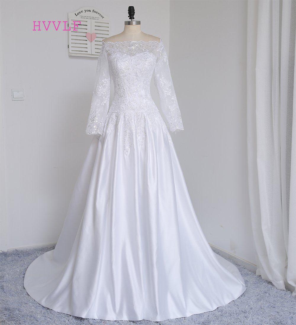 Hvvlf muslim wedding dresses aline sleeves satin lace