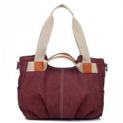 Stylish Canvas and Color Matching Design Women's Shoulder Bag
