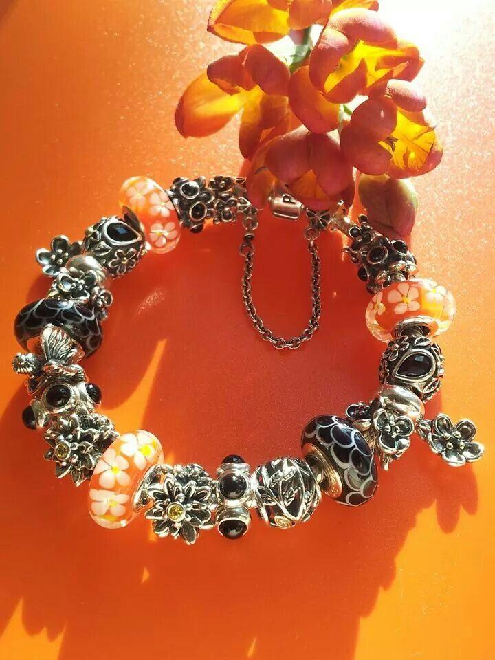 PANDORA Orange and Black Bracelet. Vos Pandora Vos créations Your ...