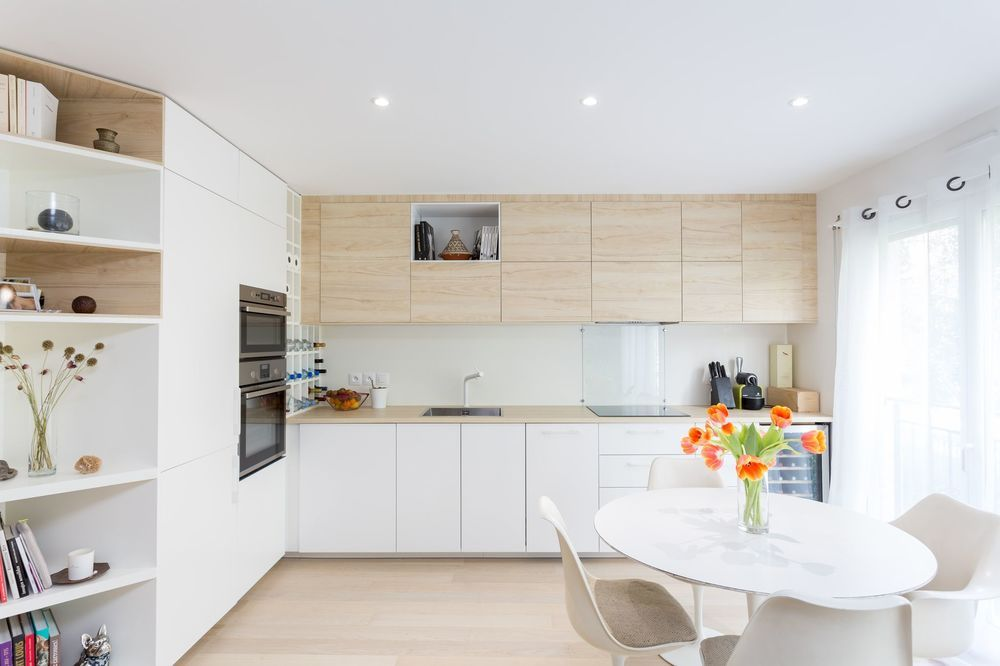 Cuisine blanc et bois id es d co cuisine en bois cuisine blanche et bois cuisine bois et - Cuisine bois blanc ...