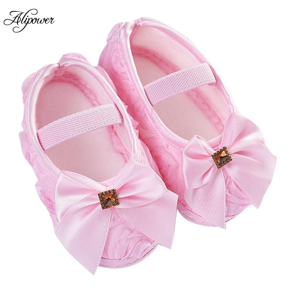 Baby Toddler Girls Crib Shoes Princess first walkers bowknot Soft Prewalker Soft
