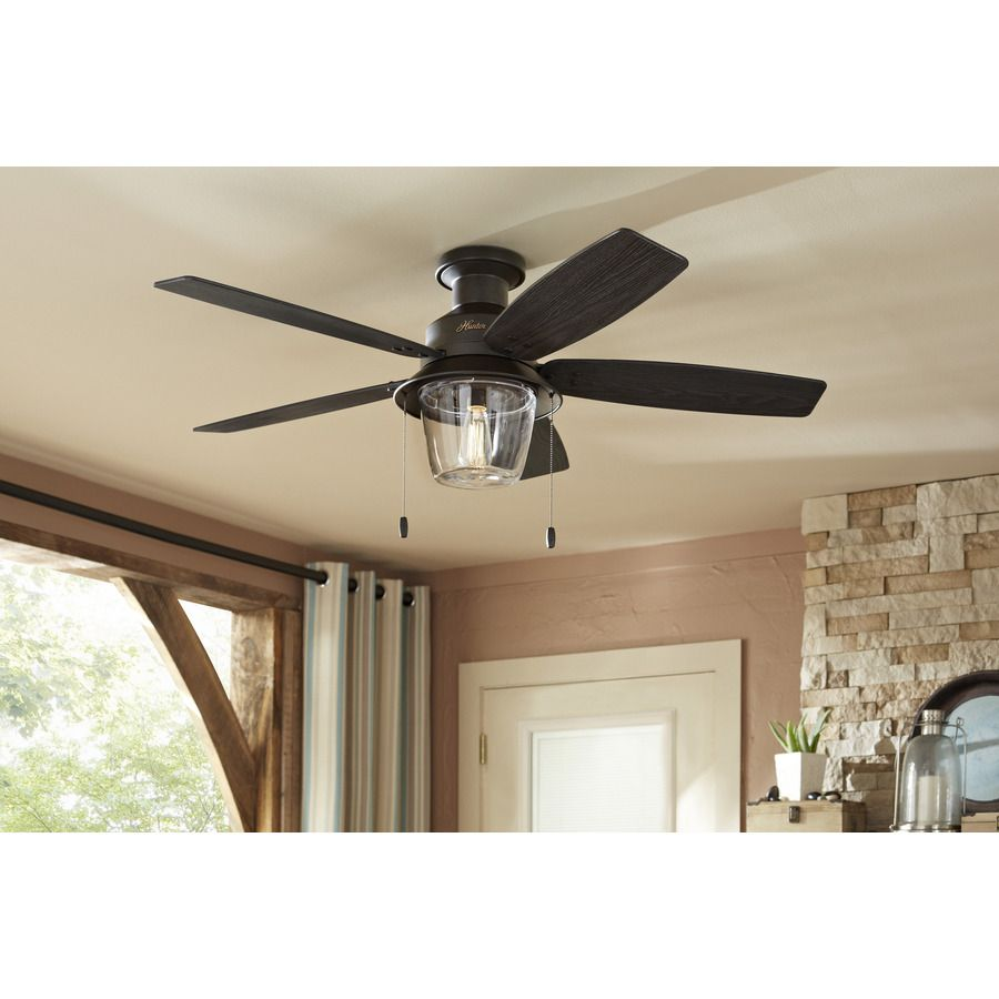 Shop Hunter Allegheny 52 In New Bronze Flush Mount Indoor Outdoor Ceiling Fan With Light Kit At Lowes