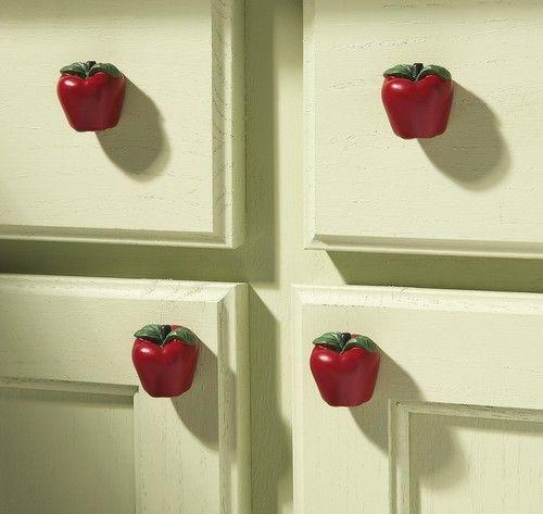 Country Apple Decor Kitchen Drawer Pulls Set Of 6 New Ebay