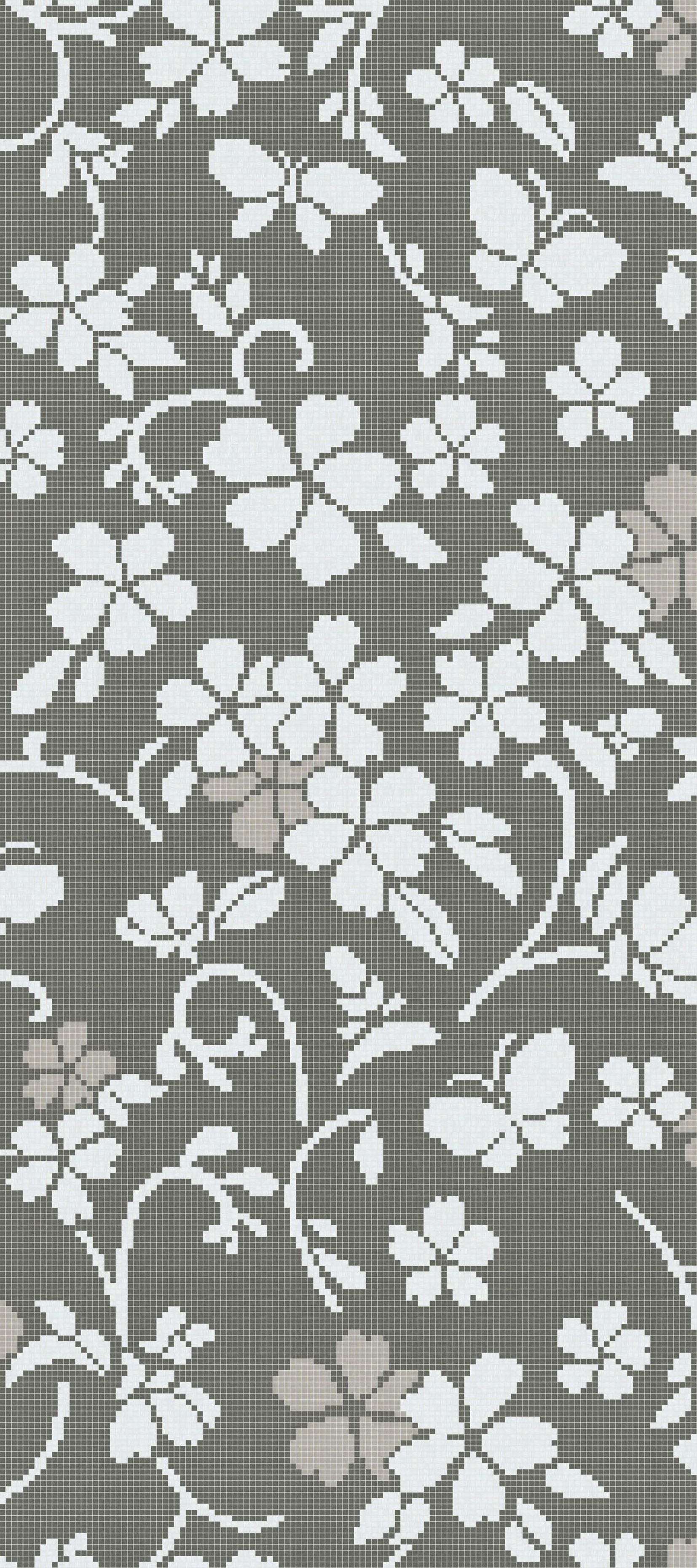 Hana-Flower Grey A, pattern in Bisazza glass mosaic, 10x10mm tiles ...