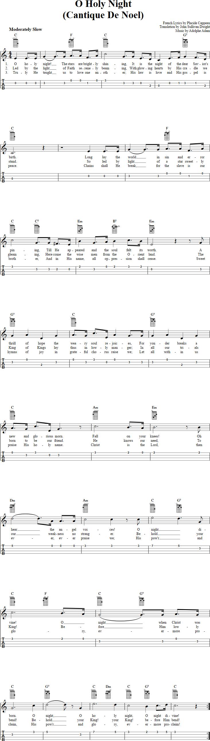 O Holy Night Ukulele Tab | Ukulele Tab Xmas Songs | Ukulele