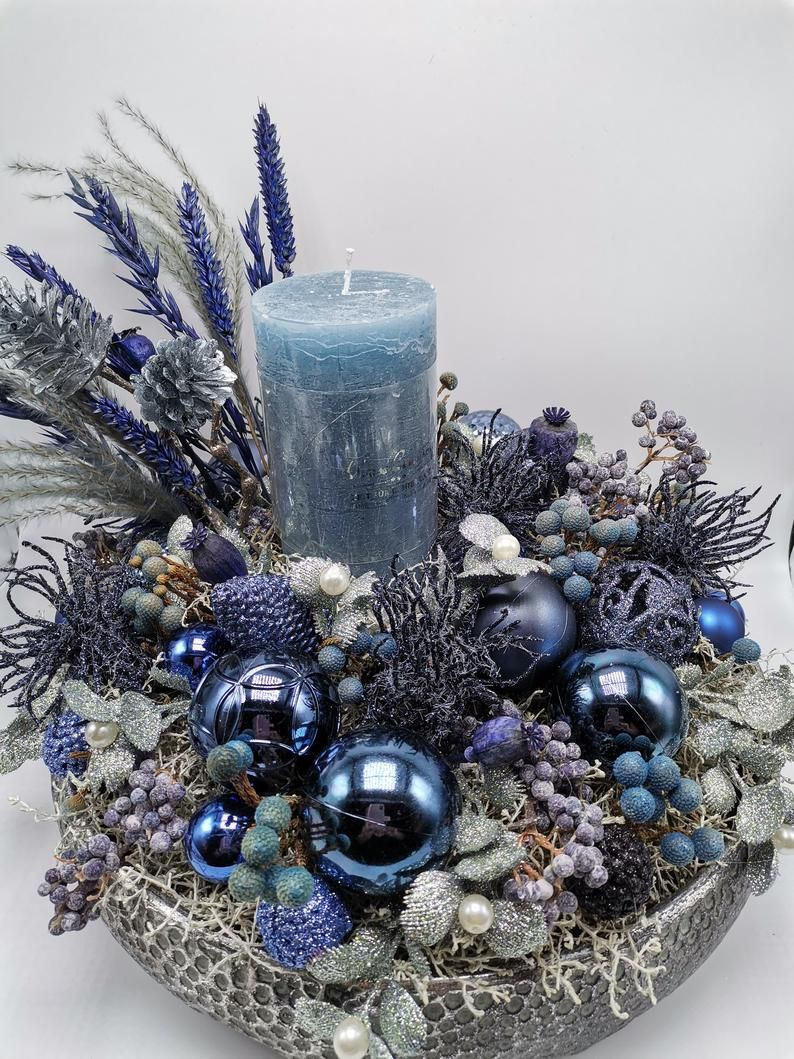 Christmas Wreath Wreath Advent Wreath Christmas Set Candle Etsy In 2021 Blue Christmas Decor Christmas Settings Christmas Decorations Centerpiece