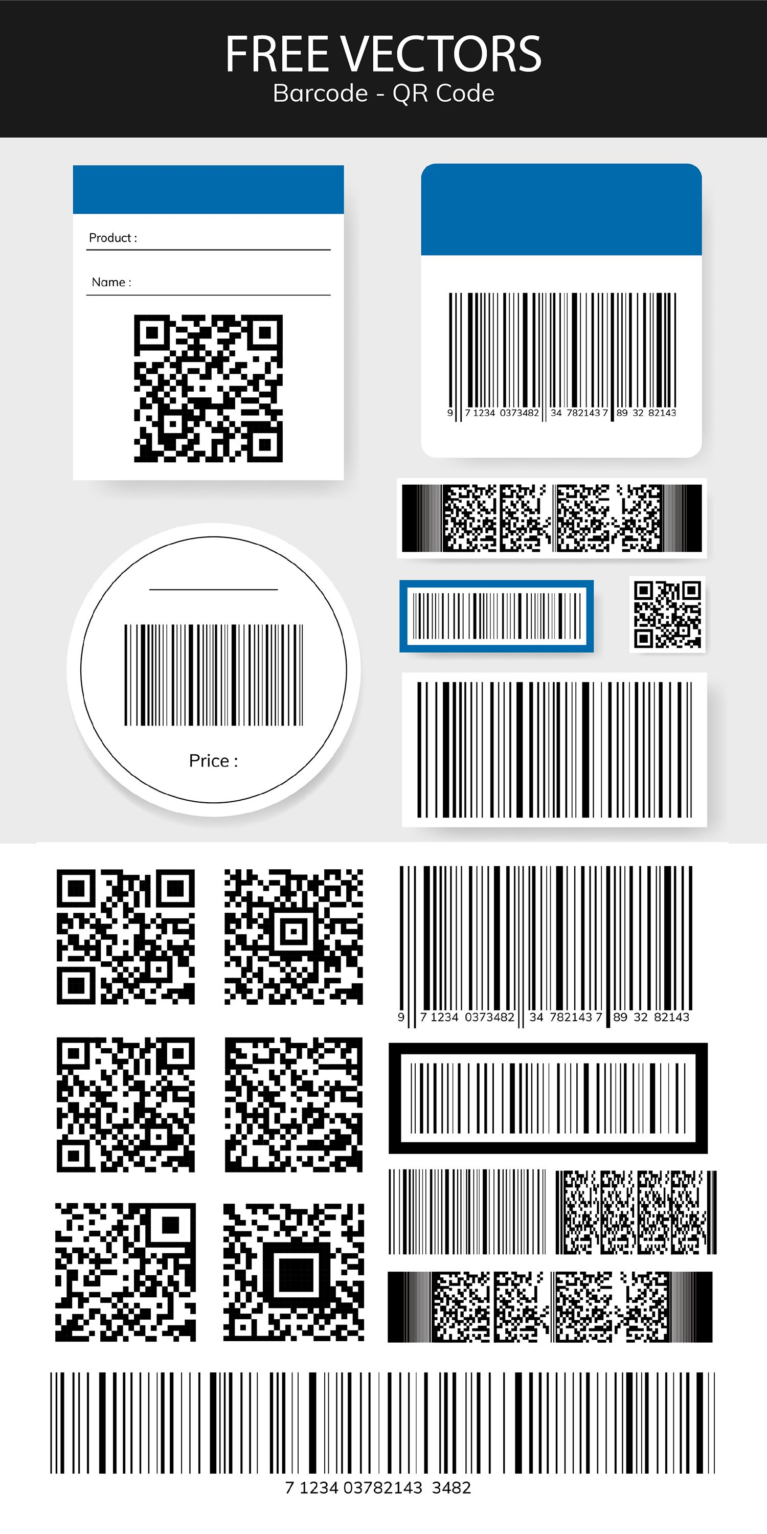 Download This Set Of Barcode And Qr Code Vectors As Well As Other Design Resources Images Psd Ve Texture Graphic Design Sticker Design Web Design Resources