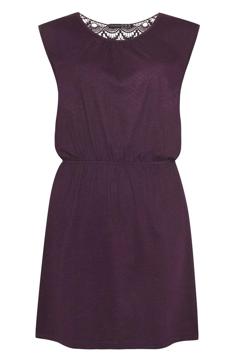 primark - aubergine crochet back jersey dress | jersey dress