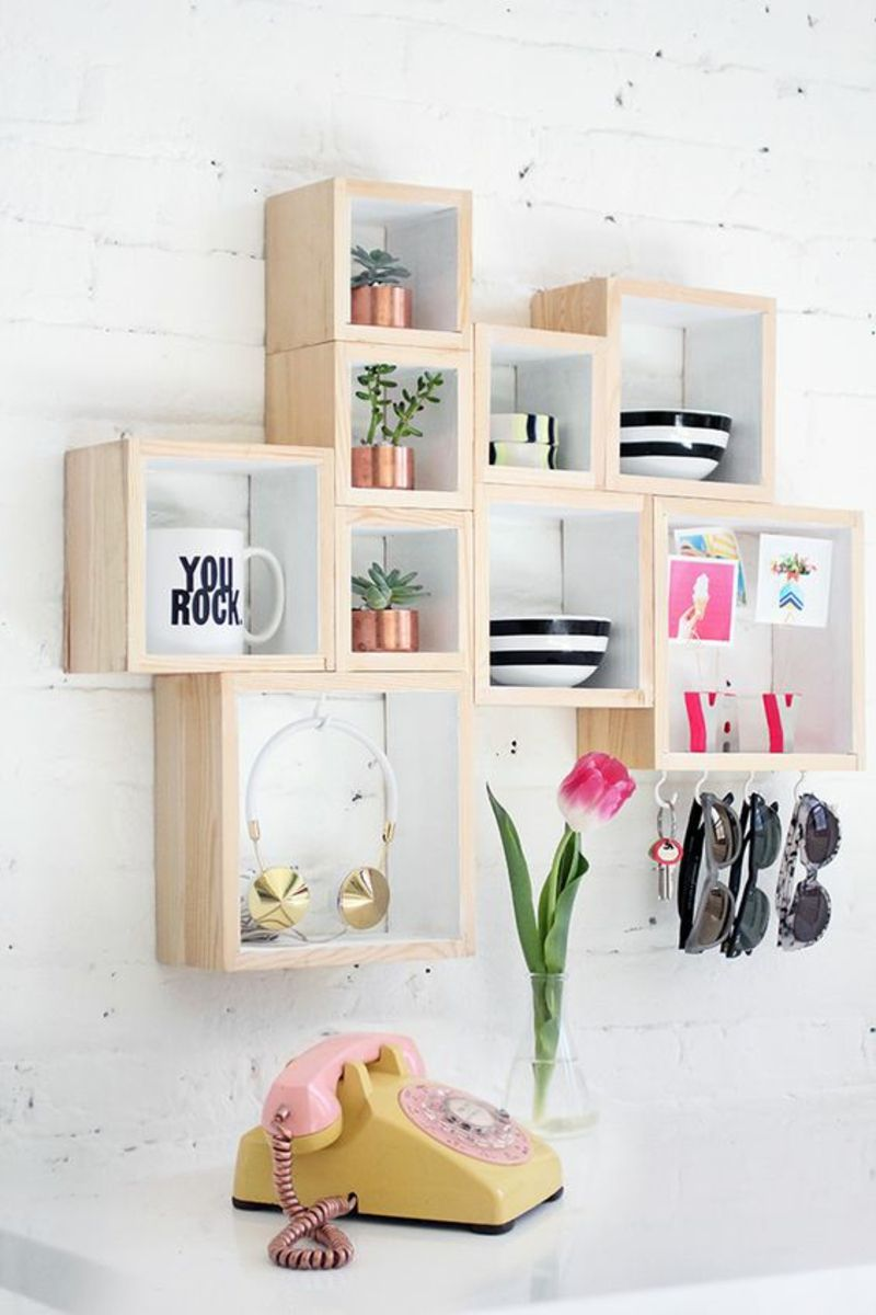 Wandregal selber bauen anleitung  cool Wandregal selber bauen Anleitung DIY Holzboxen Regle bauen ...