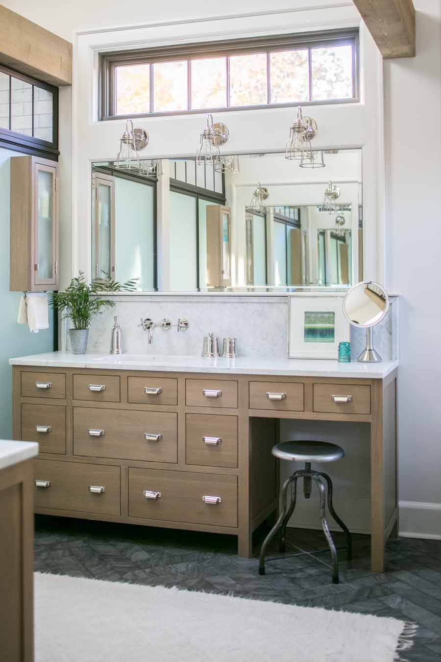 Wood vanity with transom windows + large rectangle mirror | Studio ...